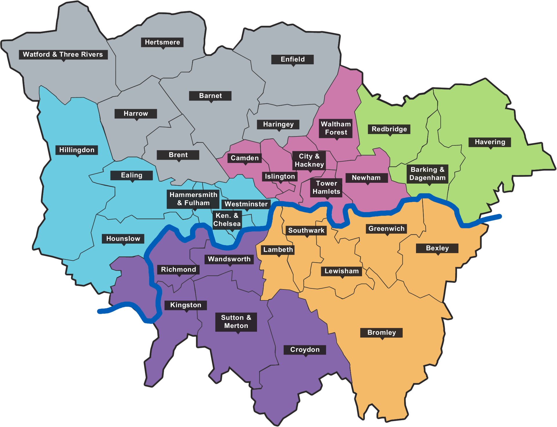Map Outer London.Location Selection